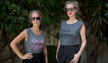 Or Alterman. left, and Ayala Meromi Keinan of the Nasty Woman T-shirt initiative, August 2017.
