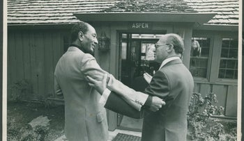 Israeli leader Menachem Begin and Egyptian leader Anwar Sadat at the start of the Camp David peace talks in 1978.