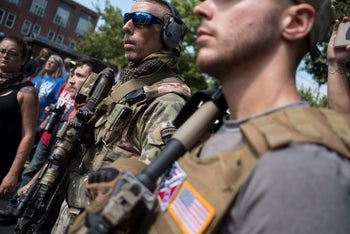 """White nationalists, neo-Nazis and members of the """"alt-right""""ת August 12, 2017 in Charlottesville, Virginia"""