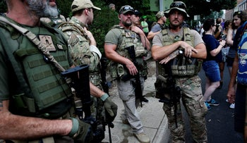 Members of a white supremacist militia at the rally in Charlottesville, Virginia, August 12, 2017.