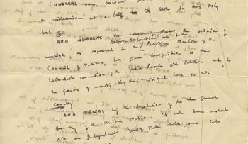 A handwritten English draft of Israel's Declaration of Independence