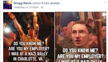 """Do you know me? Are you my employer? I was at the Nazi Rally at charlotte, VA"", asks a Facebook post by Missouri resident Gregg Davis."