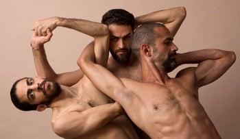 """A photo from the Nir de Volff dance troupe TOTAL BRUTAL's """"Come As You Are,"""" a performance featuring three Syrian dancers."""