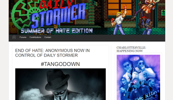 A screenshot of The Daily Stormer website taken on Monday, August 14th.