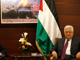 US President's envoy to the Middle East Jason Greenblatt meets with Palestinian leader Mahmud Abbas in the West Bank city of Ramallah on May 25, 2017.