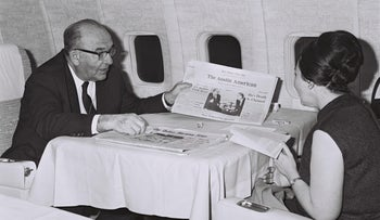Former Israeli Prime Minister Levi Eshkol with his wife Miriam on a flight in the U.S., rumor has it that her archive was also raided