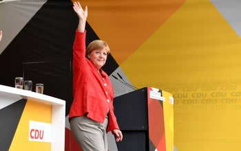 German Chancellor Angela Merkel waves during an election campaign event of the Christian Democratic Union party in Cuxhaven, western Germany, August 15, 2017.