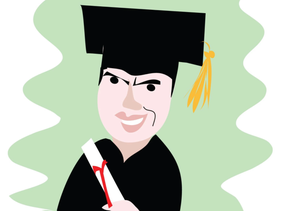 Illustration: Sayed Kashua in a cap and gown.