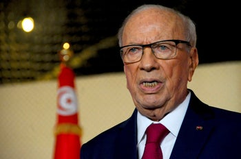 Tunisian President Beji Caid Essebsi delivers a speech in Tunis, May 10, 2017.