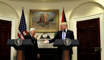 President Donald Trump with Palestinian leader Mahmoud Abbas in the White House, May 3, 2017.