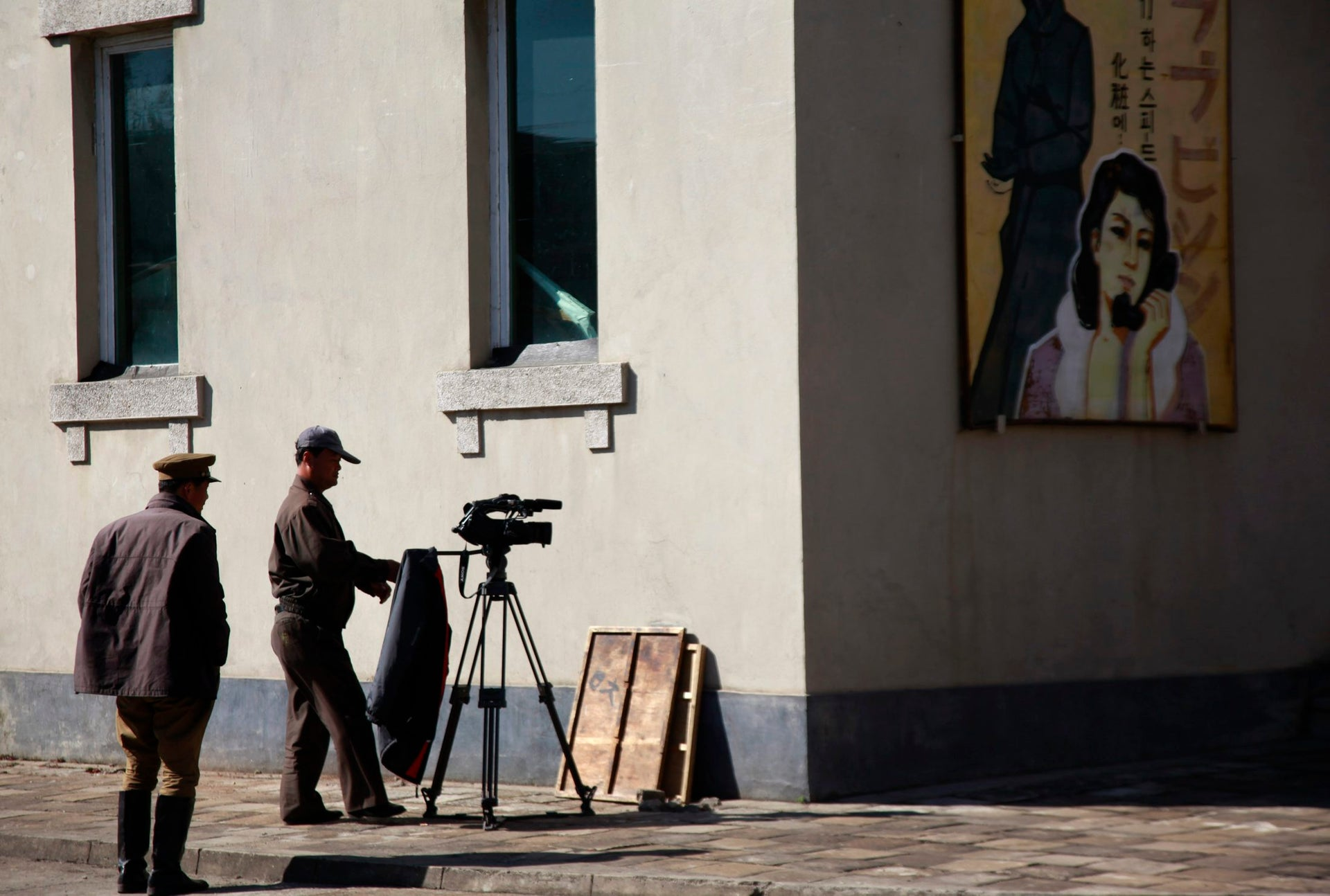 A North Korean man prepares for filming at a film studio in Pyongyang, North Korea