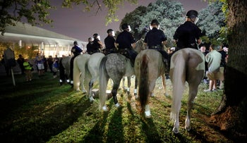 Mounted police move in at Pioneer Park following a rally against white supremacy, downtown Dallas, Saturday, Aug. 19, 2017, following wake of the fatal car attack a week earlier in Charlottesville, Va.