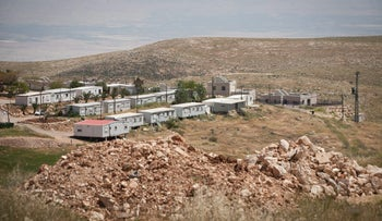 The unauthorized outpost of Mitzpeh Kramim. Israel says the expropriation law would help residents there with construction.