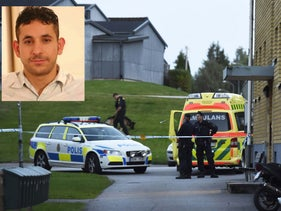 The crime scene in Limmared, Sweden. Sources in Gaza accuse the Mossad of assassinating Mohammed Tahsin al-Bazam.
