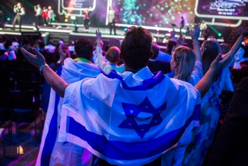 "Jerusalem prayer rally for Israel organized by the International Christian Embassy, founded ""as an evangelical response for the need to comfort Zion"". 29 September 2015"