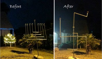 A before and after shot of the Ellis family menorah that was vandalized in Arizona, December, 2016.