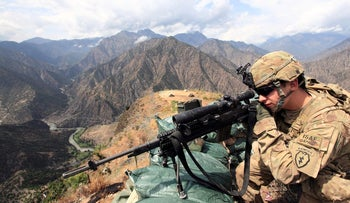U.S. Army Lieutenant Edward Bachar at Observation Post Mace in eastern Afghanistan Kunar province, near the border with Pakistan, August 29, 2011