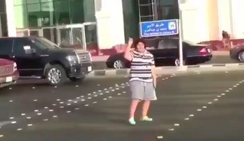 Screenshot from the video of the boy dancing on the street in Jeddah, Saudi Arabia.