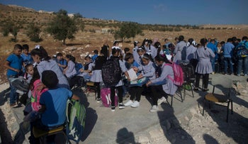 Students on the first day of term at the school in the West Bank village of Jubbet Adh-Dhib, August 23, 2017.