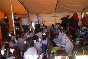 Students in a makeshift classroom in the West Bank village of Jubbet Adh-Dhib, August 23, 2017.