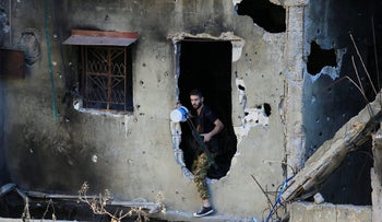 A Palestinian Fatah fighter inside the Ain el-Hilweh refugee camp.