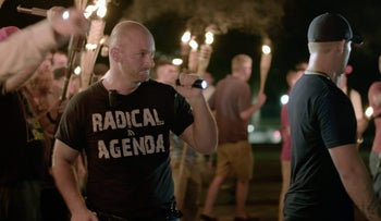 Christopher Cantwell at a white nationalist rally in Charlottesville, Virginia from a video provided by Vice News Tonight on Friday, Aug. 11, 2017.