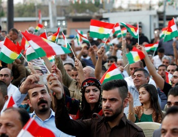 Kurdish people gather in support of a referendum on the secession of northern Iraq in Kirkuk, August 16, 2017.