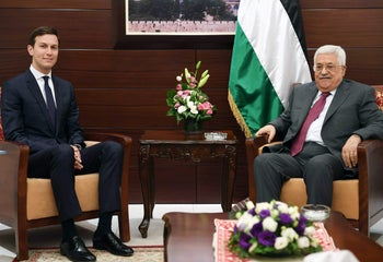 A handout picture provided by the Palestinian Authority's press office (PPO) on June 21, 2017, shows Palestinian leader Mahmud Abbas (R) US President's senior advisor and son-in-law Jared Kushner (L) in the West Bank city of Ramallah.