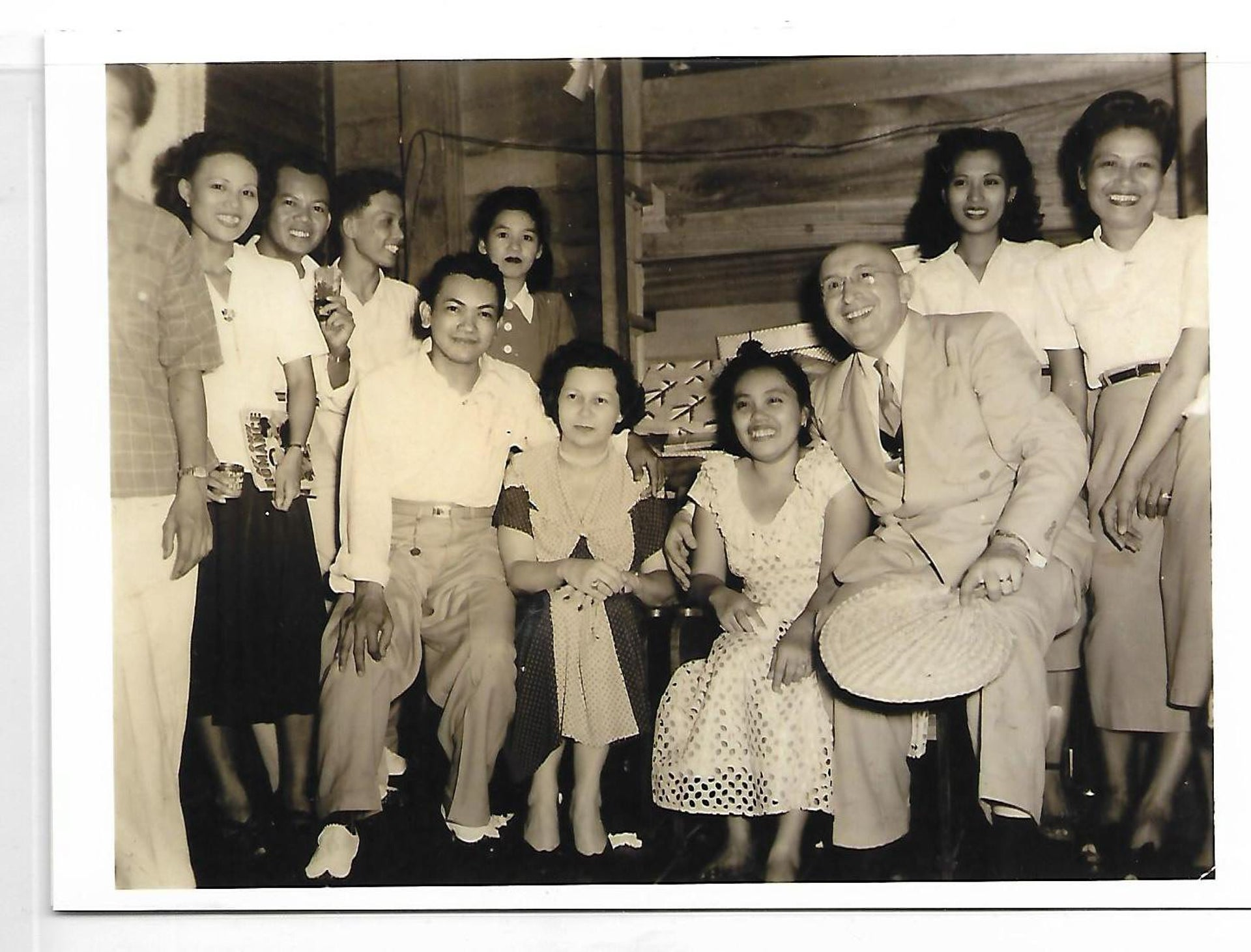 Salo Cassel, third from right, and employees at his store in Manila, 1950s.