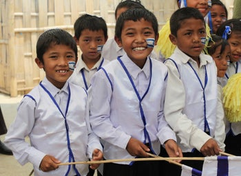 Members of the Bnei Menashe in Churachandpur village, India, during an Israeli Independence Day celebration.