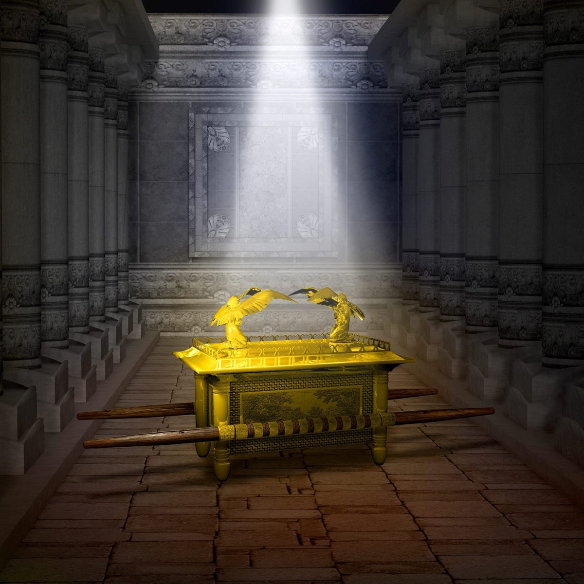 Illustration of the Ark of the Covenant inside the Holy Temple.