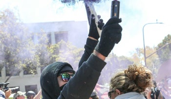 Protesters demonstrating against a right-wing rally at Martin Luther King Jr. Park in Berkeley, California, on August 27, 2017