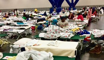Evacuees at the Houston Convention Center in the aftermath of Hurricane Harvey, Houston, Texas, U.S., August 27, 2017.