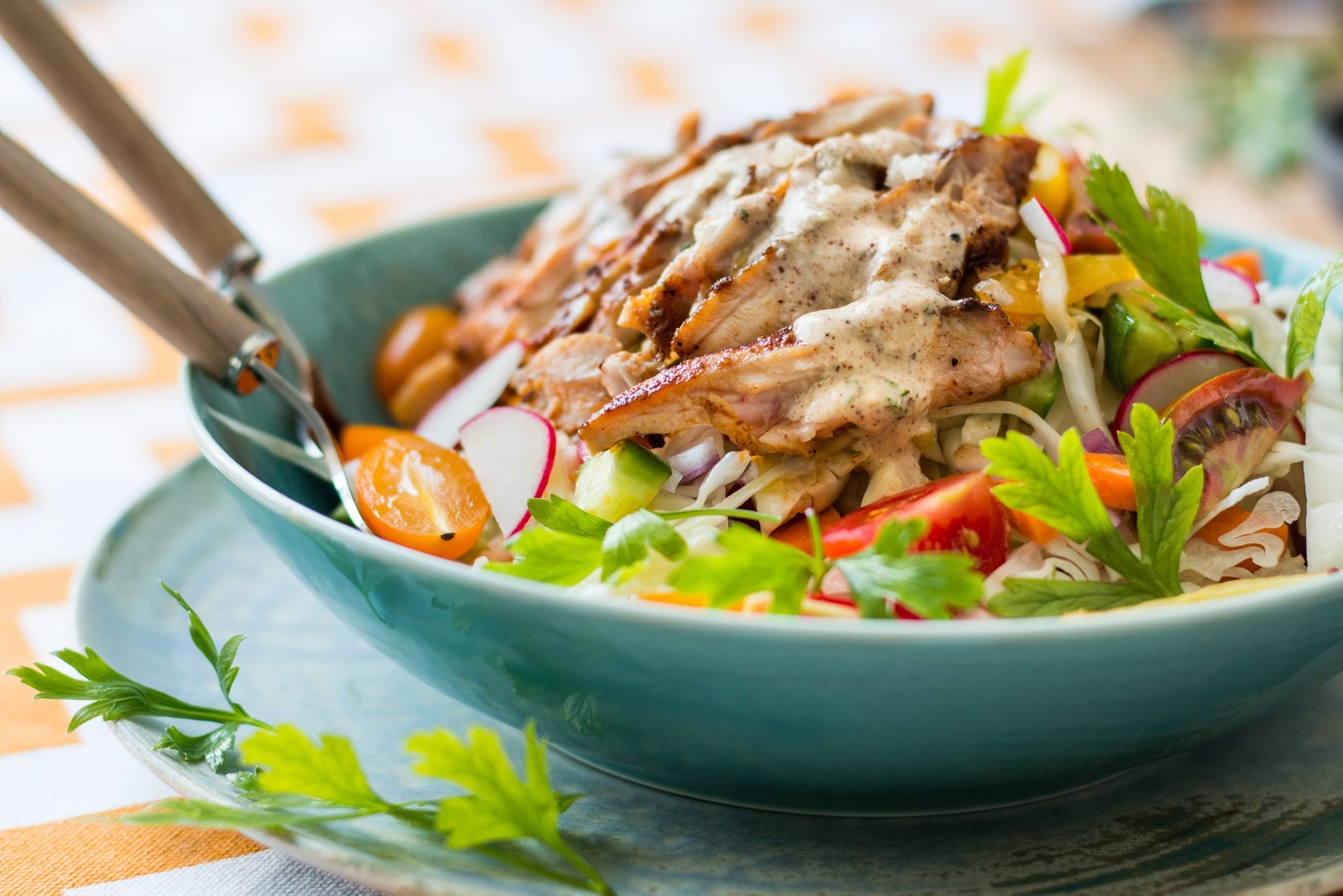 Hazelnut dressing on a vegetable and chicken salad. Instead of tahini.