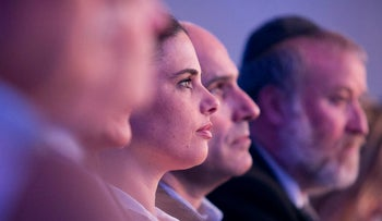 Israel's Justice Minister Ayelet Shaked sits at a conference by the Israel Bar Association in Tel Aviv, Tuesday, August 29, 2017.