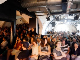 Full house for the solidarity event supporting Palestinian poet Dareen Tatour, August 30, 2017.