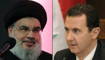 This combination of pictures created on August 31, 2017 shows Hassan Nasrallah, the head of the Lebanese Shiite movement Hezbollah, addressing a religious ceremony in a southern suburb of Beirut on October 11, 2016 and Syrian President Bashar al-Assad attending a cabinet meeting in Damascus in a handout picture released by the official Syrian Arab News Agencyon June 20, 2017.