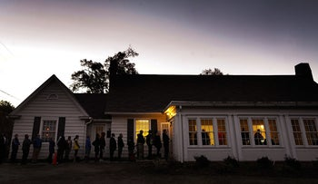 A line outside a voting precinct before it opened on Election Day last year in Durham, N.C.