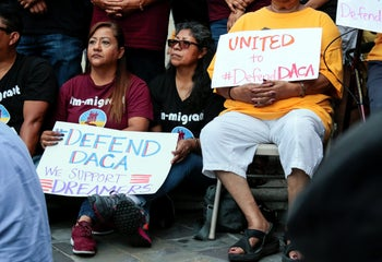 Protesters gather to show support for the DACA program recipient during a rally outside the Federal Building in Los Angeles on September 1, 2017.