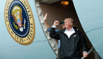 U.S. President Donald Trump gestures after meeting with flood survivors and volunteers who assisted in relief efforts in the aftermath of Hurricane Harvey, in Houston, Texas, U.S., September 2, 2017