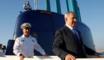 Netanyahu on board the INS Rahav, the fifth submarine in the fleet, after it arrived in the Haifa port January 12, 2016.