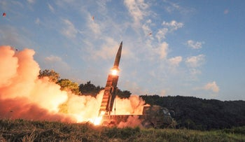 South Korea's Hyunmoo II ballistic missile is fired during an exercise at an undisclosed location in South Korea, Monday, Sept. 4, 2017