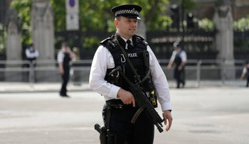 A British police officer in Parliament Square, London, June 21, 2017.