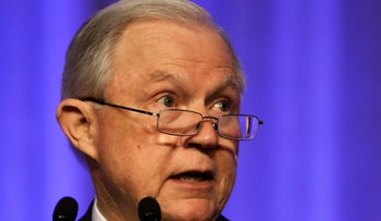 U.S. Attorney General Jeff Sessions speaking in Nashville, Tennessee, August 28, 2017.