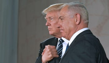 US President Donald Trump (L) and Israel's Prime Minister Benjamin Netanyahu shake hands after delivering a speech at the Israel Museum in Jerusalem on May 23, 2017.