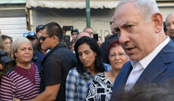 Prime Minister Benjamin Netanyahu during his visit to south Tel Aviv, August 31, 2017.