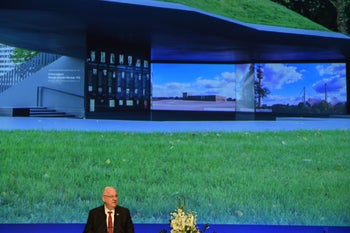 Israeli President Reuven Rivlin delivering a speech at the new memorial to the 1972 Munich massacre,  September 6, 2017.
