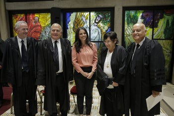 Ayelet Shaked, center, meeting with Supreme Court justices, September 2017.