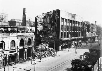 View of the remains of the burnt out 'Cicurel', Cairo's biggest department store, in Cairo, Egypt, Jan. 26, 1952, after it was burnt out the previous day by rioters. The building is on Cairo's Fouad First Avenue.