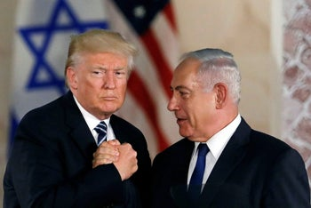 Trump and Netanyahu shake hands after Trump's address at the Israel Museum in Jerusalem May 23, 2017.